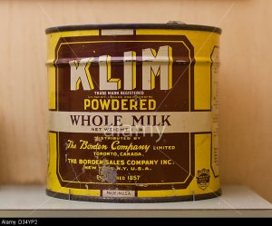 Vintage KLIM Powdered Whole Milk tin can - circa 1940