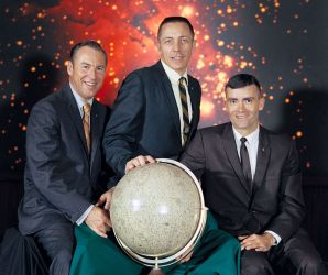 Left to right: Commander, James A. Lovell Jr., Command Module pilot, John L. Swigert Jr., Lunar Module pilot, Fred W. Haise Jr.