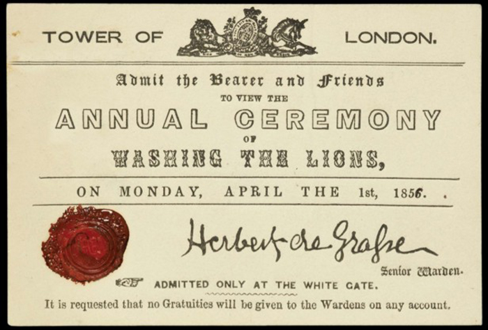 April 1, 1698 Washing the Lions
