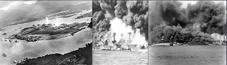 Japanese torpedo strikes hull of the Oklahoma