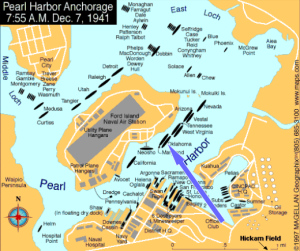 Pearl Harbor attact map