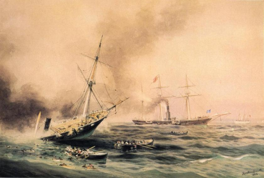 Battle_of_Kearsarge_and_Alabama_(1892)_by_Xanthus_Smith