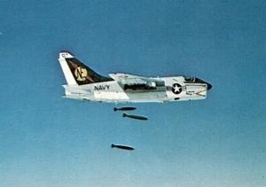 A-7E_VA-25_dropping_bombs_over_Vietnam_c1970
