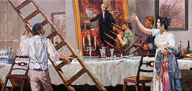 Dolley-Madison-directing-rescue-of-George-Washington-portrait-631