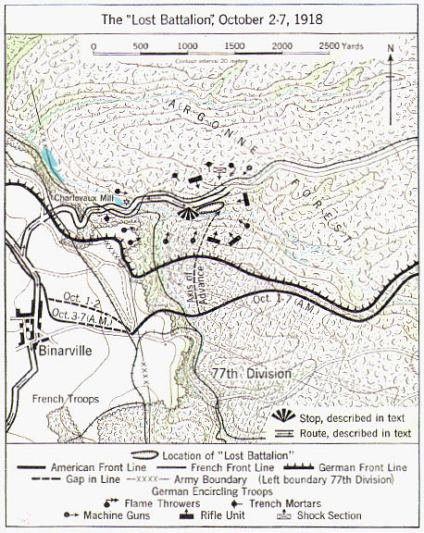 lost battalion, map