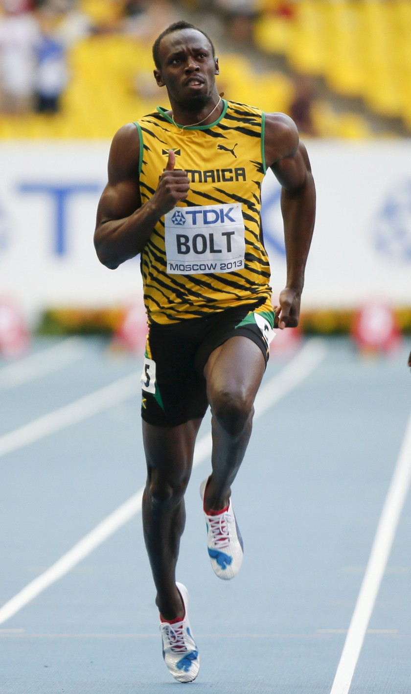 File photo of Bolt of Jamaica competing in the men's 100 metres semi-final heat event during the IAAF World Athletics Championships at the Luzhniki stadium in Moscow