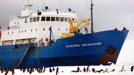 The MV Akademik Shokalskiy stuck in Sea Ice