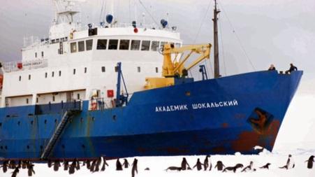 The MV Akademik Shokalskiy stuck in Sea Ice