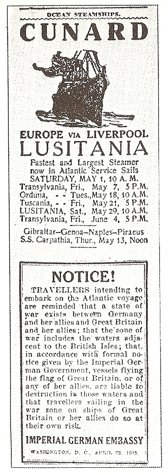 Lusitania warning
