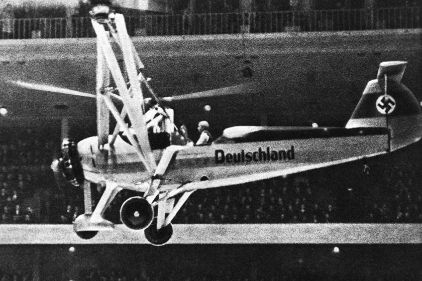 Hubschrauber Focke-Wulf FW 61 V1 in Berliner Deutschlandhalle 1938