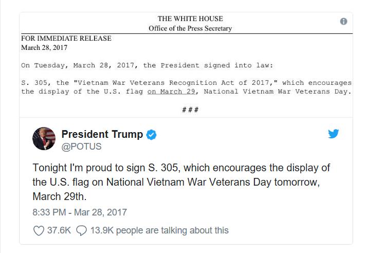 Vietnam Veterans Day Tweet
