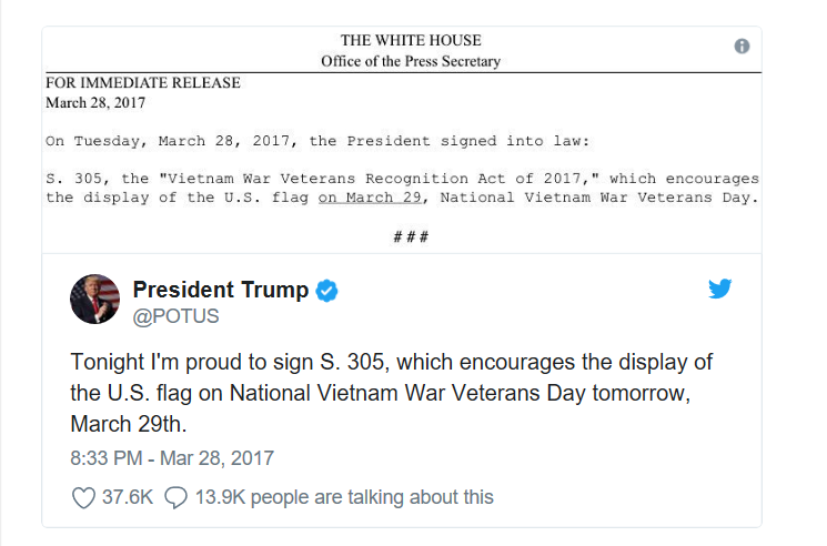Vietnam Veterans Day Tweet