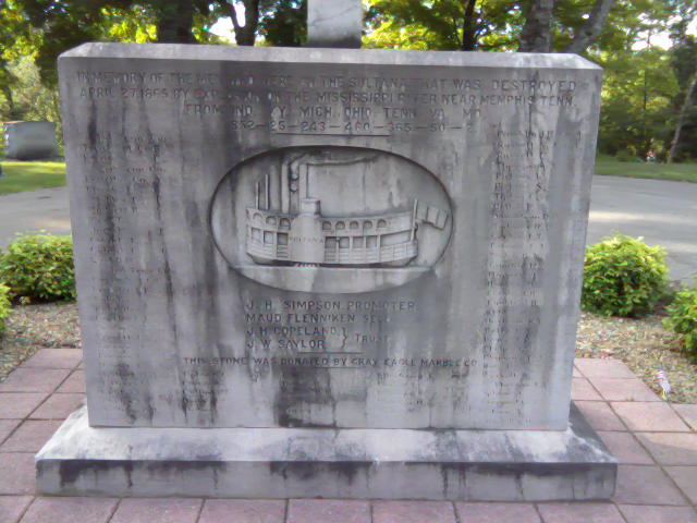 Sultana Memorial at the Mount Olive Baptist Church Cemetery in Knoxville, Tennessee in 2010