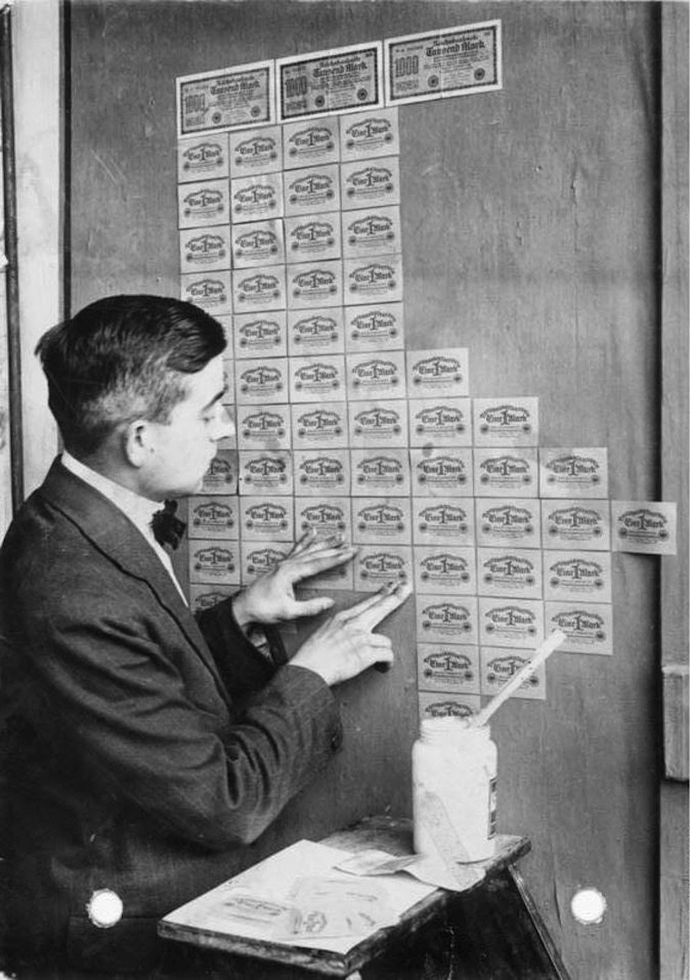Using banknotes as wallpaper during hyperinflation, Germany, 1923