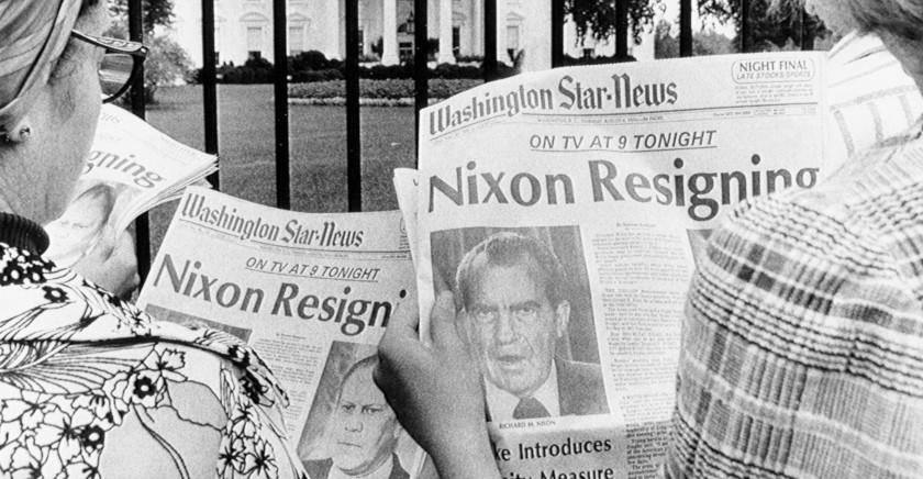 Tourists Reading Nixon Resignation Headline