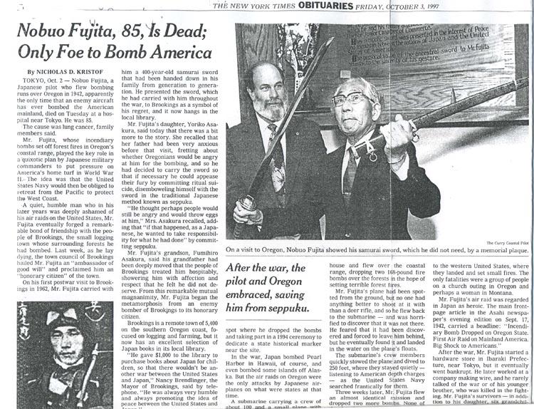 Fujita NYT obit Oct 3 '97