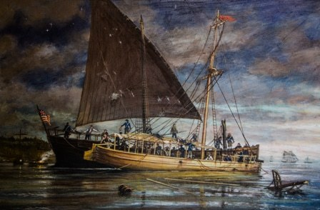 Philadelphia-Sinking-Assisted-by-the-Row-Galley-Washington-Painting-by-Ernie-Haas