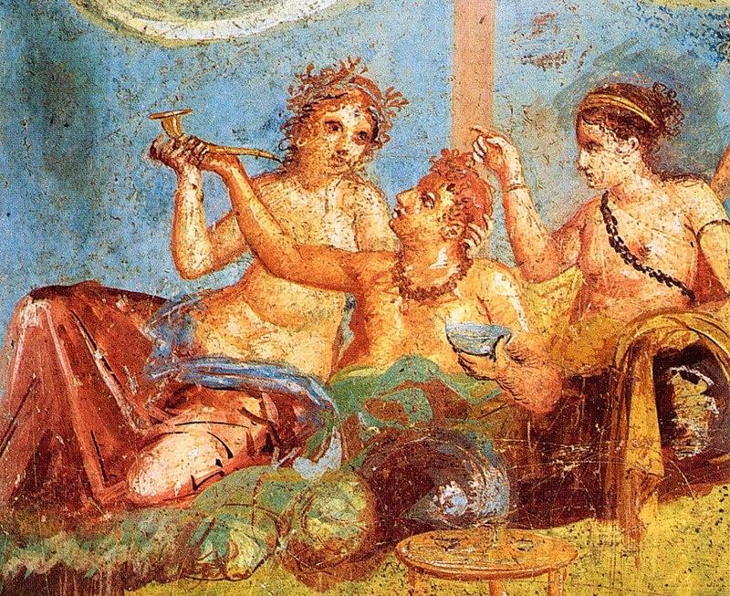 800px-Pompeii_-_Casa_dei_Casti_Amanti_-_Banquet