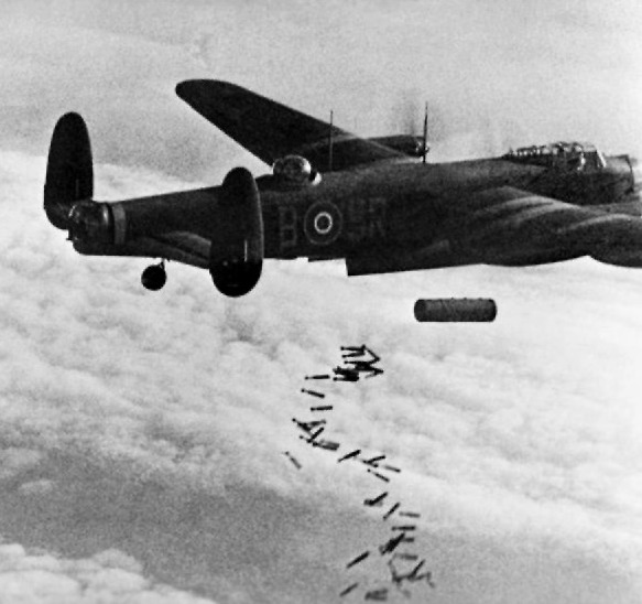 Lancaster_I_NG128_Dropping_Blockbuster_-_Duisburg_-_Oct_14,_1944