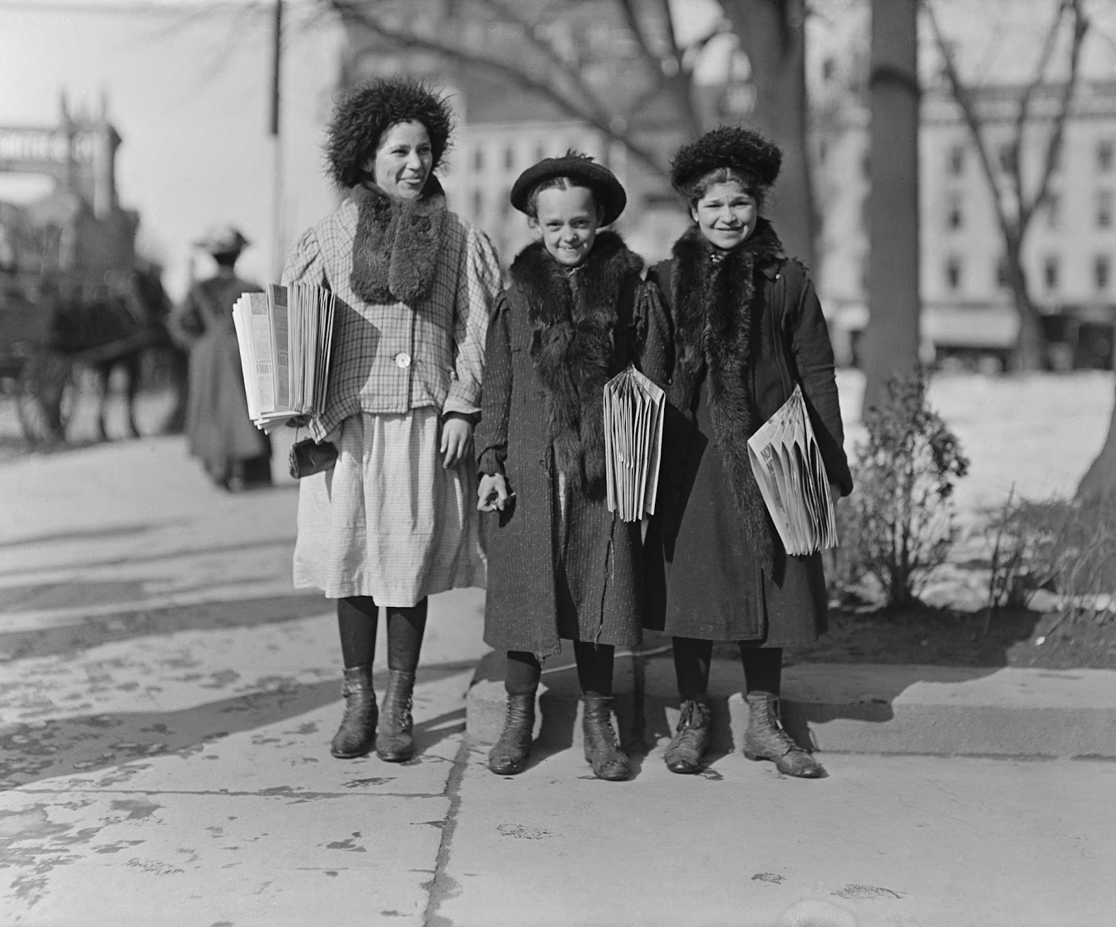 Lewis Hine - Have been selling 2 years. Youngest, Yedda Welled, is 11 years old. Next, Rebecca Cohen, is 12. Next, Rebecca Kirwin, is 14. Hartford, Connecticut, 1909