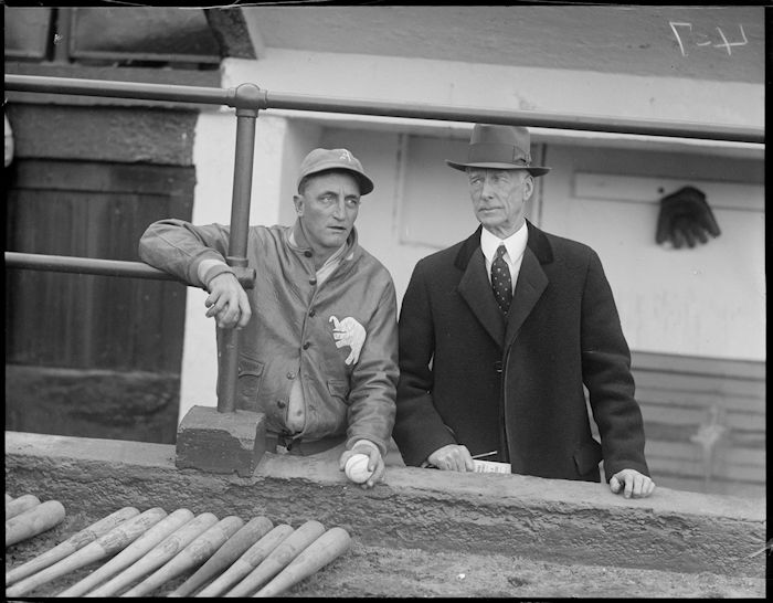 Philadelphia_Athletics_coach_Lena_Blackbourne_and_manager_Connie_Mack_in_the_dugout_at_Fenway_Park2