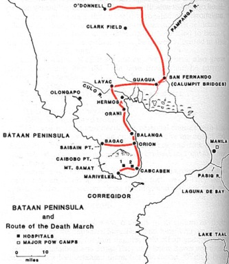 bataan-death-march-route-map