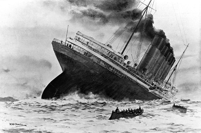 World War I. 7th May 1915. An illustration of the sinking of the British ocean liner RMS Lusitania, torpedoed by German U-boat U-20 off the old head of Kinsale, Ireland.