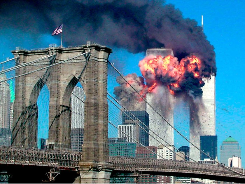 9-11 as seen from the Brooklyn Bridge