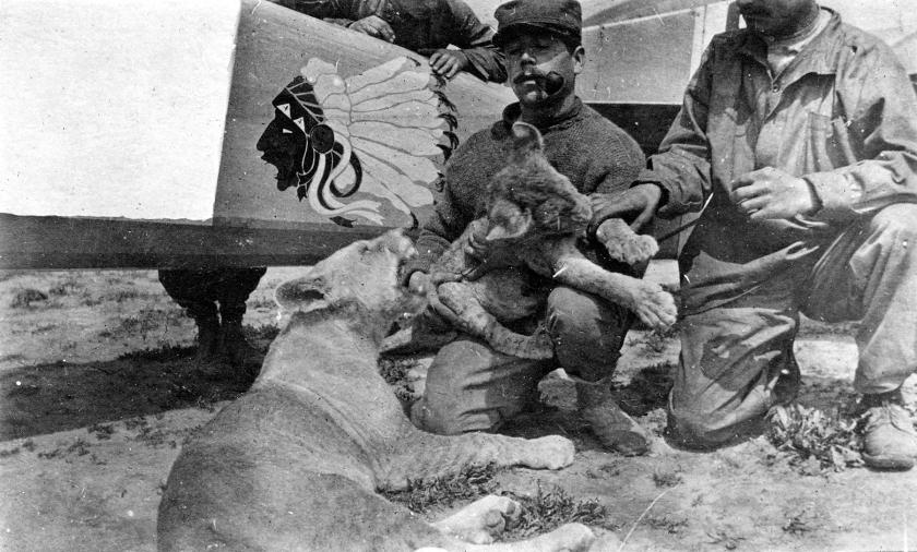 LtCol_William_Thaw_with_lion_cub_mascots_of_Lafayette_Escradrille_c1916