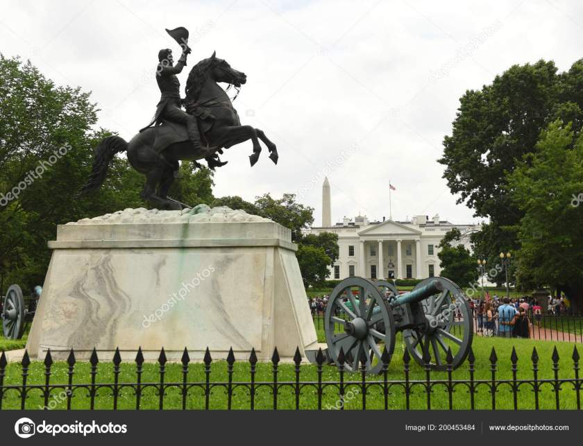 Washington, DC - June 02, 2018: Andrew Jackson's statue in Lafay